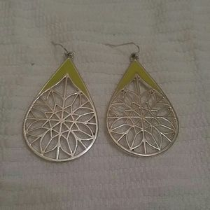 Lime green and silver dreamcatcher earrings